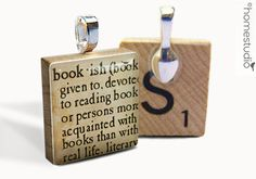 Bookish Definition : pendant jewelry from a Scrabble tile. Necklace Scrabble piece. Home Studio jewelry gift present.