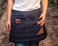 Cafe Apron, Leather Suspenders, Waist Apron, Aprons For Men, Denim Cotton, Blue Denim, Black And Brown, Etsy, Clothes