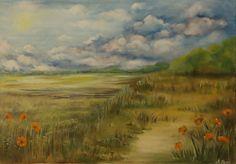 Sielski, wiosenny  krajobraz. Olej na płótnie