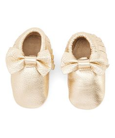 Loving this Gold Bow Moccasin on #zulily! #zulilyfinds