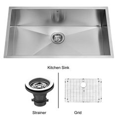 """View the Vigo VGR3219CK1 32"""" Undermount Stainless Steel Kitchen Sink with Sink Grid and Basket Strainer at FaucetDirect.com."""