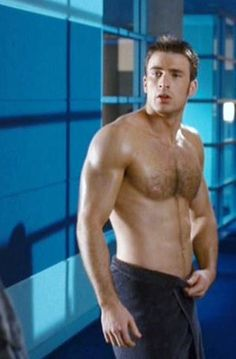Chris Evans...shirtless, damp...freshly showered...happy morning!