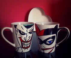 2 Copas Joker /Harley Quinn Psycho LOvers dc comics por howbeth