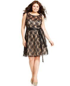 Wish it was longer though. Trixxi Plus Size Dress, Sleeveless Lace A-Line - Plus Size Dresses - Plus Sizes - Macy's Plus Size Chic, Dress Plus Size, Evening Dresses Plus Size, Trendy Plus Size Clothing, Plus Size Outfits, Plus Size Fashion, Dresser, Lace A Line Dress, Fat Fashion