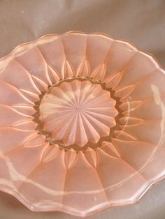 RARE Antique  GLASS dish, Peach color, frosted