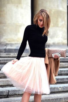 This gorgeous tulle skirt can be made in any color and any length. Skirt underlay same color or can use contrasting color ( like black underlay with