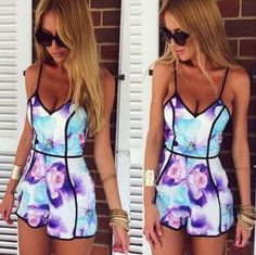 top 2015 printing jumpsuits v-neck sexy women by ShellyFashion
