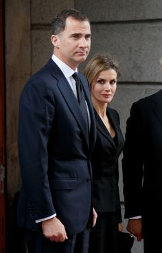 Prince Felipe of Spain and Princess Letizia of Spain arrives to the funeral chapel of the Spanish parliament for former Spanish prime minister Adolfo Suarez on March 24, 2014 in Madrid, Spain.