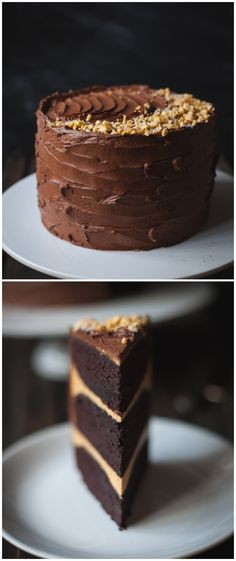 Chocolate cake with salted caramel buttercream and honeycomb pieces, covered in…
