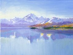 An oil painting by Dai Wynn (after Brian High) of New Zealand's highest mountain Aoraki (Mount Cook) reflected in the mirror waters of Lake Pukaki.  Oils on canvas panel; 17.78 cm high X 22.86 cm wide (7 inches X 9 inches). Available for sale online at $300.