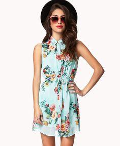 Lana Del Rey like Floral Shirt Dress