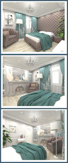 #Спальня , в который был создан #дизайн #интерьера в классическом стиле для молодой девушки. Программа #3DMax #VRay
