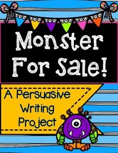 Let the creative juices flow! Students will enjoy creating their own monster and convincing others why they should purchase it! Students will write a persuasive essay and put the essay in a lapbook to present their monster.