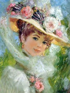 'The Picture Hat' Victorian Lady -  by John Strevens (British, 1902-1990)