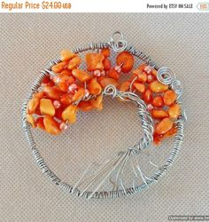 Orange Quartzite Tree of Life Wire Art Sun Catcher Crystal // Orange Quartzite Chip Beads, Faux Pearls  // Wire Wall Art