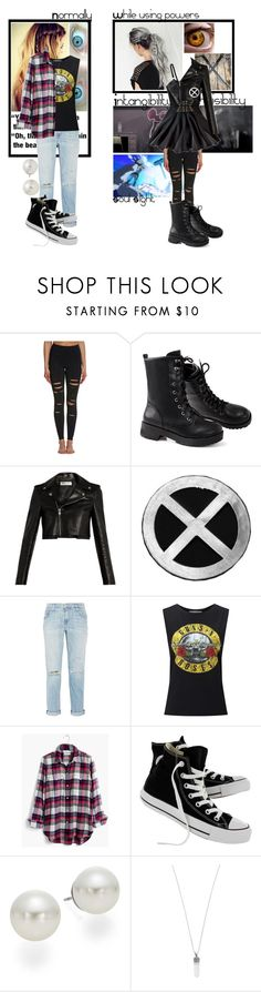 """""""Spectra (X-men oc)"""" by frootloop16 ❤ liked on Polyvore featuring Alo Yoga, Yves Saint Laurent, Current/Elliott, Miss Selfridge, Madewell, Converse, AK Anne Klein and Marc Jacobs"""