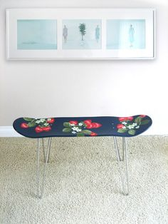 This is so fun!!!  Handpainted Big Strawberry Pattern Skateboard stool via Miz Bon Room on Etsy    This stool is made of a skateboard and hair pin legs.    You can use it as a stool or small table.