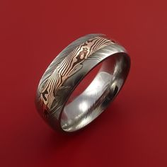 Damascus and 14k ROSE GOLD Mokume Gane Ring Custom Made - Stonebrook Jewelry  - 4