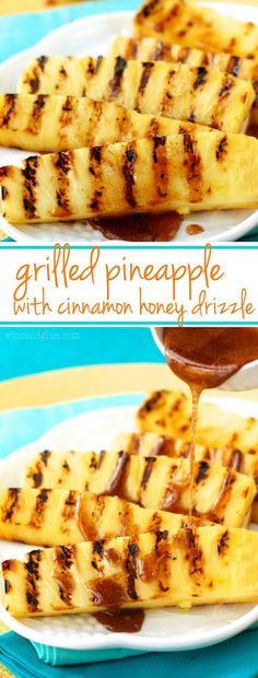 Grilled Pineapple with Cinnamon Honey Drizzle. A perfect summer side dish or light dessert! Grilled Pineapple with Cinnamon Honey Drizzle. A perfect summer side dish or light dessert! Think Food, Love Food, Grilled Fruit, Grilled Shrimp, Grilled Salmon, Grilled Chicken, Cajun Shrimp, Shrimp Pasta, Grilled Watermelon