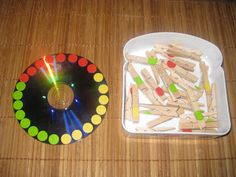 CD Clothespins Practical LIfe Activities Need to keep the next old CD that comes along Sorting Activities, Color Activities, Kindergarten Activities, Preschool Activities, Montessori Practical Life, Montessori Math, Finger Gym, Kids Education, Fine Motor