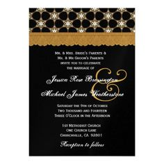 Black and Gold MonogramWedding V01 Personalized Announcements