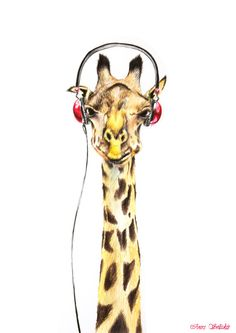 Fancy Looking Giraffe With Headphones Colored by ArtwaveStudio
