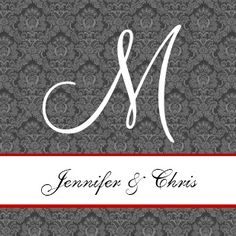 Gray Silver Red Damask Square Wedding Template