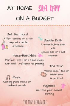 At Home Spa Day On A Budget. Check out how to make the perfect relaxing spa day at home and not breaking the bank! diy spa day, cheap spa day, diy spa night, at home spa night spa day at home At Home Spa Day On A Budget - The Tiny Herbivore Diy Spa Tag, Cheap Spa, Pamper Days, Beauty Hacks For Teens, Spa Night, Spa Day At Home, Spa Day For Kids, Hair Spa At Home, Relaxing Day