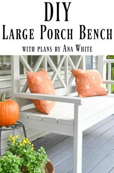 This DIY front porch bench is not only beautiful, but it is huge! Perfect for lazy evenings taking in the scenery.