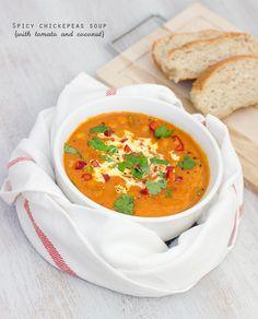 chickpeas soup with tomato and coconut