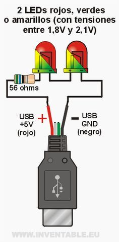 Conectar LEDs al USB | Inventable Arduino Projects, Electronics Projects, Electrical Wiring, Electrical Engineering, Usb, Simple Electronics, Rgb Led, Led Diy, Circuit Diagram
