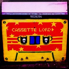 Street Artist Cassette Lord does his thing : more cool Brighton street art on a telephone exchange box
