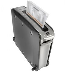The Space Saving Shredder - Hammacher Schlemmer - About the size of a small briefcase. It can stand up vertically or lie horizontally for shredding, and its pull-out bin is easy to empty. Office Gadgets, Office Items, Home Gadgets, Latest Gadgets, Gadgets And Gizmos, Tech Gadgets, Science And Technology News, Technology Gadgets, Latest Technology