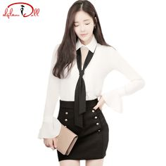 Cheap piece set, Buy Quality two set directly from China suit suit Suppliers: 2017 Autumn Full Flare Sleeve Hollow Out White Office Blouse High Waist Mini Black Skirt Women Two Pieces Sets Work Suit Dresses
