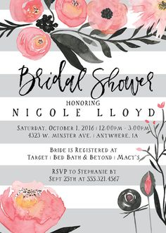 86352125a059 These bridal shower invitations are perfect for a modern and elegant bridal  shower! Gray and