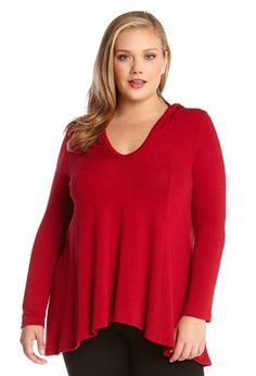 c27df1bef77 Karen Kane Red Long Sleeve Hooded Top (Plus Size) available at
