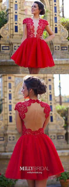 Red Homecoming Dresses Short, Lace Prom Dresses for Teens, Sexy Party Dresses Open Back, Elegant Cocktail Dresses Tulle Dresses Elegant, Formal Dresses For Teens, Dresses Short, Trendy Dresses, Modest Homecoming Dresses, Straps Prom Dresses, Graduation Dresses, Pageant Dresses, Simple Cocktail Dress
