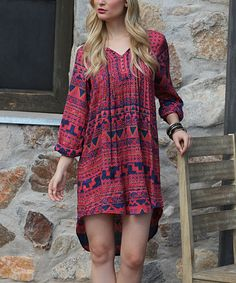 Look at this Red & Blue Tribal Hi-Low Dress on #zulily today!