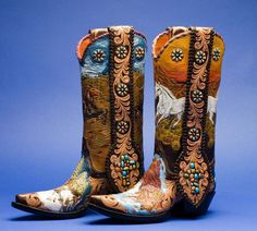 Vintage Cowboy Boots New Design Embroidery Pattern Biker High Top Boots 43//44//45