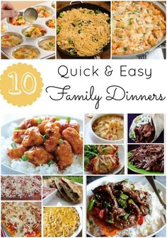 Quick and easy family friendly dinners
