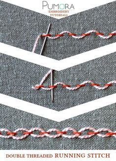 embroidery stitch lexicon: the double threaded running stitch