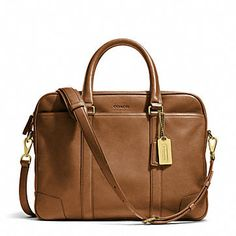 coach bleecker leather slim brief, brass/fawn