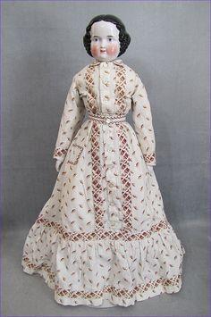 Unusual China Head Lady Doll Beautiful Head Period Costume