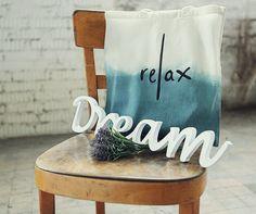 Green Handmade Dip Dye and lettered Cotton Bag - relax, via Etsy.