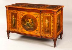 Hampton & Sons - A Very Fine Antique Sheraton Commode Decorated in the Adams Manner with a Remarkable Lineage from Hamptons of Pall Mall