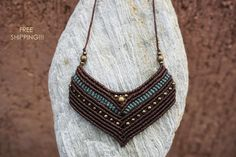 FREE SHIPPING Beaded macrame necklace - gipsy pendant, knotted necklace, brown, green, adjustable length!