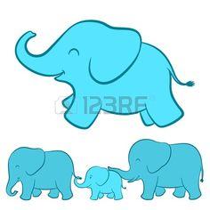 Elephant family cartoon Stock Vector