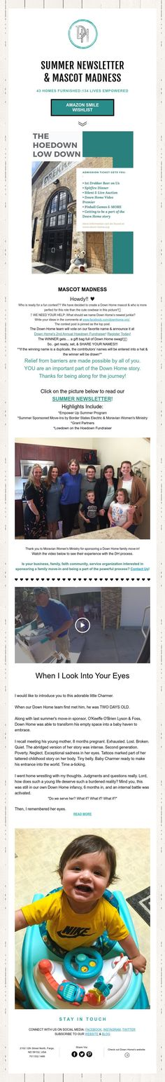 SUMMER NEWSLETTER  & MASCOT MADNESS     43 HOMES FURNISHED:134 LIVES EMPOWERED