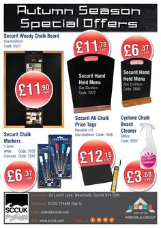 SCCUK are chalking up their Autumn deals!  We also stock an extensive range of great value catering equipment ideal for restaurants, cafes, coffee shops and bars.  Pop along to our showrooms at 83 Lynch lane, Weymouth, Dorset DT4 9DN  FREE delivery in the local area No minimum order  Tel: 01305 774488 (Opt 5)