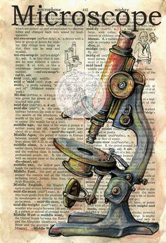 Druck: Mikroskop Mischtechnik Zeichnung auf notleidende, Wörterbuch-Seite